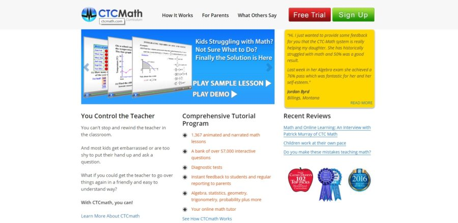 Main Screen for CTC Math Lessons