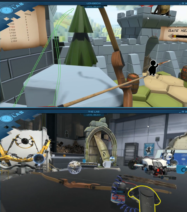 Action shots from VR Game The Lab